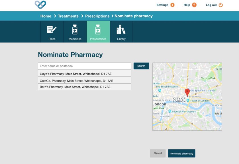 Nominate pharmacy